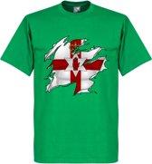 Noord Ierland Ripped Flag T-Shirt - Groen - XXL