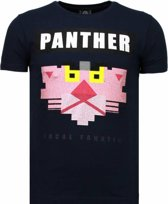 Local Fanatic Panther For A Cougar - Rhinestone T-shirt - Blauw - Maten: M