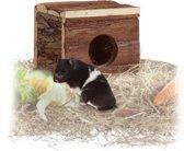 relaxdays knaagdierhuis van hout - hamsterhuis - muizen huisje - natuurhout - cavia huis