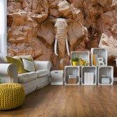 Fotobehang Stone Elephant | VEXXL - 312cm x 219cm | 130gr/m2 Vlies