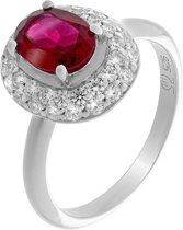 Orphelia ZR-7236/RU/54 Zilver Ring Oval Ruby Zirconium