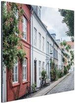 Straat Kopenhagen Aluminium 120x80 cm - Foto print op Aluminium (metaal wanddecoratie)