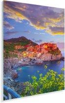 Oranje gekleurde huizen door de ondergaande zon in Cinque Terre Plexiglas 60x90 cm - Foto print op Glas (Plexiglas wanddecoratie)