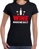 Wine made me do it drank fun t-shirt zwart voor dames - wijn drink shirt kleding XL