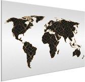 Wereldkaart Zwart Goud Lijnen Aluminium Schilderij 90x60 cm | Wereldkaart Wanddecoratie Aluminium