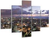 Glasschilderij Gebouw | Grijs, Blauw | 100x70cm 5Luik | Foto print op Glas |  F002712