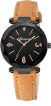 Hidzo Horloge Geneve H297 ø 37 mm - Bruin/Zwart - Kunstleer