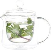 Theepot dubbelw Tea time clear 18cm