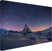 FotoCadeau.nl - Winterlandschap bij nacht Canvas 60x40 cm - Foto print op Canvas schilderij (Wanddecoratie)