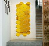 Spiegel Sticker Set - Goudkleurig - Waterproof Badkamer - Wandspiegel - 7 Stuks - Groot - 16 cm x 18 cm