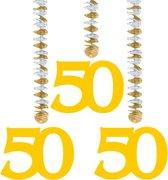 50 Jaar Gouden Hangdecoratie - 3 stuks