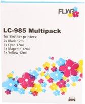 FLWR - LC-985 Multipack zwart en kleur - geschikt voor Brother