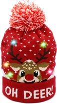 JAP Kerstmuts met lichtjes - Beanie met kerst verlichting - Rudolf - Oh deer - Rood