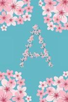 A Monogram Letter A Cherry Blossoms Journal Notebook