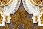 Fotobehang Golden Curtains | XXL - 312cm x 219cm | 130g/m2 Vlies