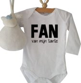 Rompertje Fan van mijn tante | Lange mouw | wit | maat 62/68
