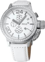 Max Classic Chrono 5 MAX414 Horloge - Leren band - Ø 47 mm - Wit / Zilverkleurig