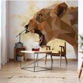 Fotobehang Polygon Lioness Light Colours   VEXXXL - 416cm x 254cm   130gr/m2 Vlies