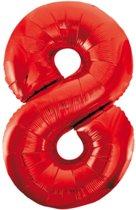 Cijfer 8 Rood Helium 86 cm