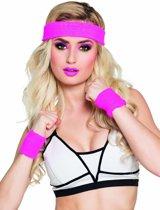 Roze zweetbandjes set voor volwassenen - Verkleedattribuut