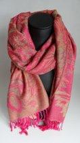 Mooie hippe sjaal van pashmina in de kleuren roze rood creme breedte 70cm lengte 180cm.