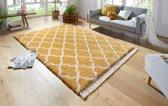 Hoogpolig vloerkleed Pearl - goud/crème 80x150 cm