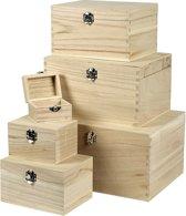 Set houten dozen, Keizerin boom, 6stuks
