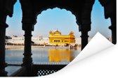 De Gouden Tempel vanuit een schitterend paviljoen met mooie gevels in India Poster 180x120 cm - Foto print op Poster (wanddecoratie woonkamer / slaapkamer) XXL / Groot formaat!