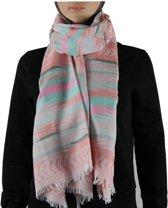 Sjaal / Shawl / Omslagdoek 100% Pashmina Zalm Multi Color