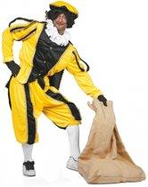 Geel/zwarte pieten kostuum fluweel 58 (2xl/3xl)
