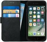 Rosso Deluxe Apple iPhone 7 / iPhone 8 Hoesje Echt Leer Pasjes Book Case Zwart | Ruimte voor drie pasjes | Opbergvakje voor briefgeld | Handige stand functie | Magneetsluiting