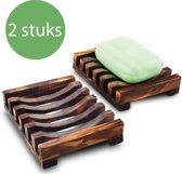 2X Zeepbakje / Zeephouder / Zeepdoosje van hout – 2 Stuks - Voor de badkamer , bad , douche , wasbak , keuken , wastafel , aanrecht – Luxe en van hoogwaardig organisch hout – Zeepdispenser – Goed met natuurlijke zeep – Monvelli