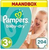 Pampers Baby Dry Maat 3+ - 204 Luiers Maandbox