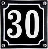 Zwart emaille huisnummer  - 30