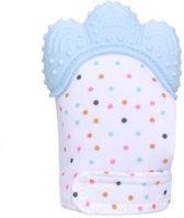 Bijthandschoen - Baby handschoen - Blauw - Verlicht de pijn bij doorkomende tandjes - Universeel pasbaar - Bijtring