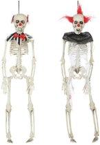 Halloween -  2x Horror clown skelet hangdecoratie 40 cm - Halloween clownspoppen versiering om op te hangen