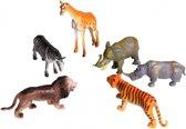 Speelgoed set plastic safari dieren 6 stuks