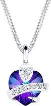 Elli Halsketting 925 Sterling Zilver Paars hartje Swarovski® Kristal