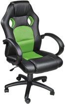 Luxe design bureaustoel racing style groen zwart 400936