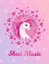 Sheet Music: Unicorn Large Blank Primary Sketchbook Paper - Pink Purple Magical Horse Personalized Letter S Initial Custom First Na