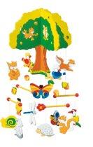 Mobiel: BOOMHUT met 13 dieren H39xB22,5cm, gelakt hout