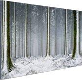 FotoCadeau.nl - Besneeuwde bomen in de winter Aluminium 90x60 cm - Foto print op Aluminium (metaal wanddecoratie)