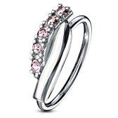 Neus piercing hoop ring twisted roze ©LMPiercings