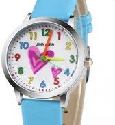 Meisje horloge- Blauw- Hartjes-30 mm