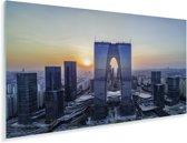 Zonsondergang achter de skyline van Suzhou in China Plexiglas 40x20 cm - Foto print op Glas (Plexiglas wanddecoratie)