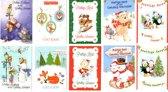 50 Luxe Kerst- en Nieuwjaarskaarten - 9,5x14cm  - 10 x 5 dubbele kaarten met enveloppen - serie Cute
