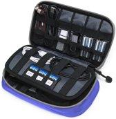 Kabel Organizer Tas Deluxe – 3 lagen Reistas - Travel Organizer voor Kabels & Oordopjes - Kabeltas voor op reis - Sunflake - Blauw Grijs