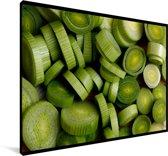 Afbeelding van gesneden prei Canvas 120x80 cm - Foto print op Canvas schilderij (Wanddecoratie woonkamer / slaapkamer)