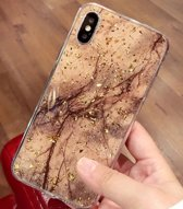 Bruin / goud marmer siliconen TPU hoesje - iPhone 7 / 8