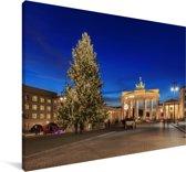 De Brandenburger Tor in Duitsland tijdens de kerstdagen Canvas 180x120 cm - Foto print op Canvas schilderij (Wanddecoratie woonkamer / slaapkamer) XXL / Groot formaat!
